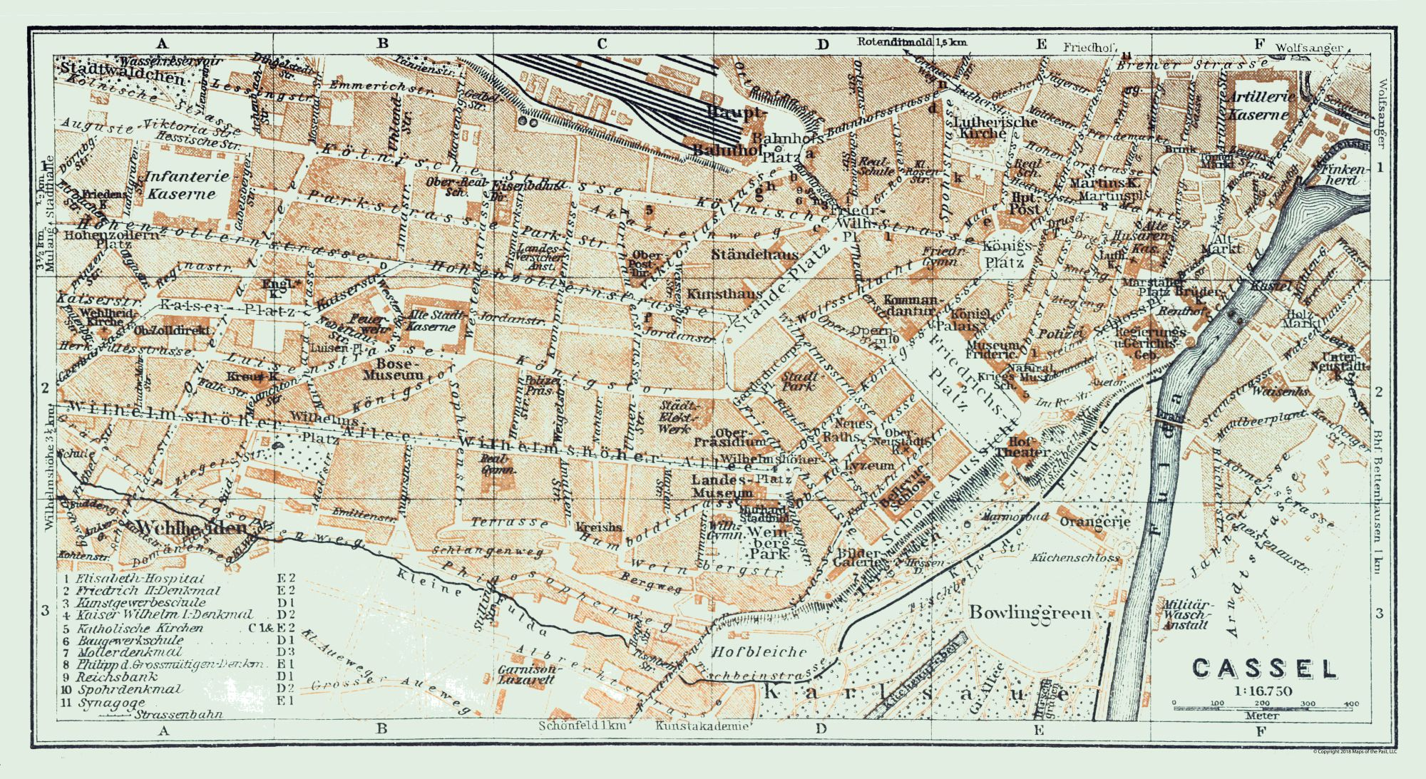 Map Of Germany In 1914.Old International Maps Kassel Germany Baedeker 1914 42 09 X 23