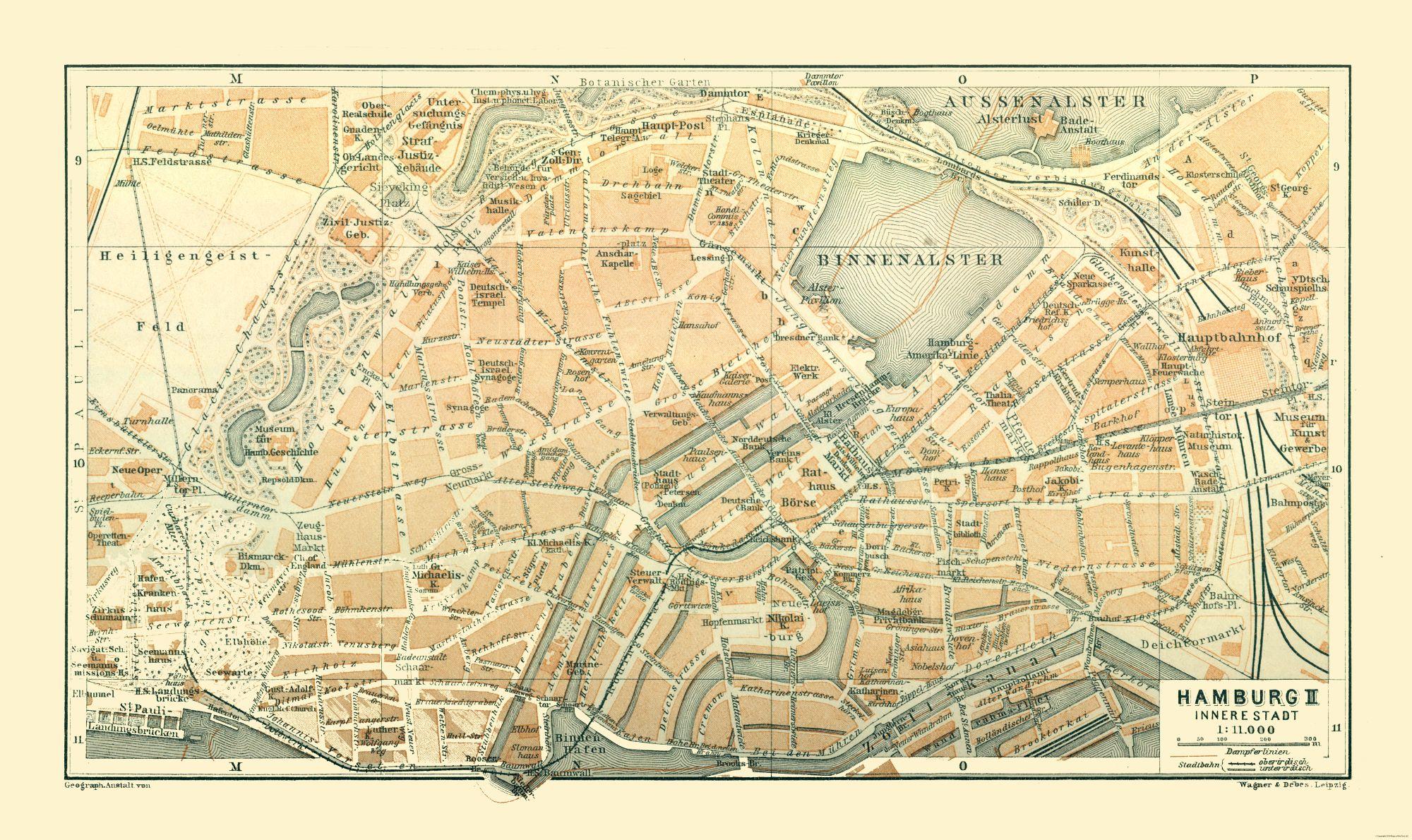 Map Of Germany In 1914.International Map Hamburg Germany Baedeker 1914 38 65 X 23