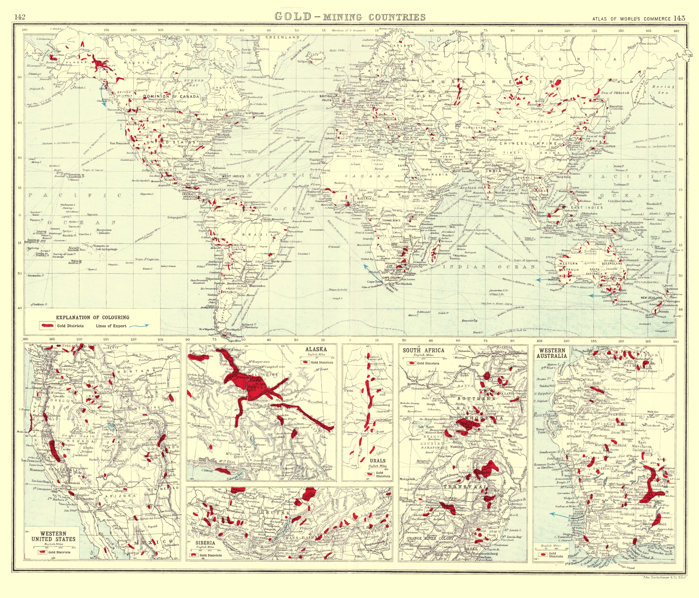 Gold Mines In World Map.Old World Map Global Gold Mining Newnes 1907