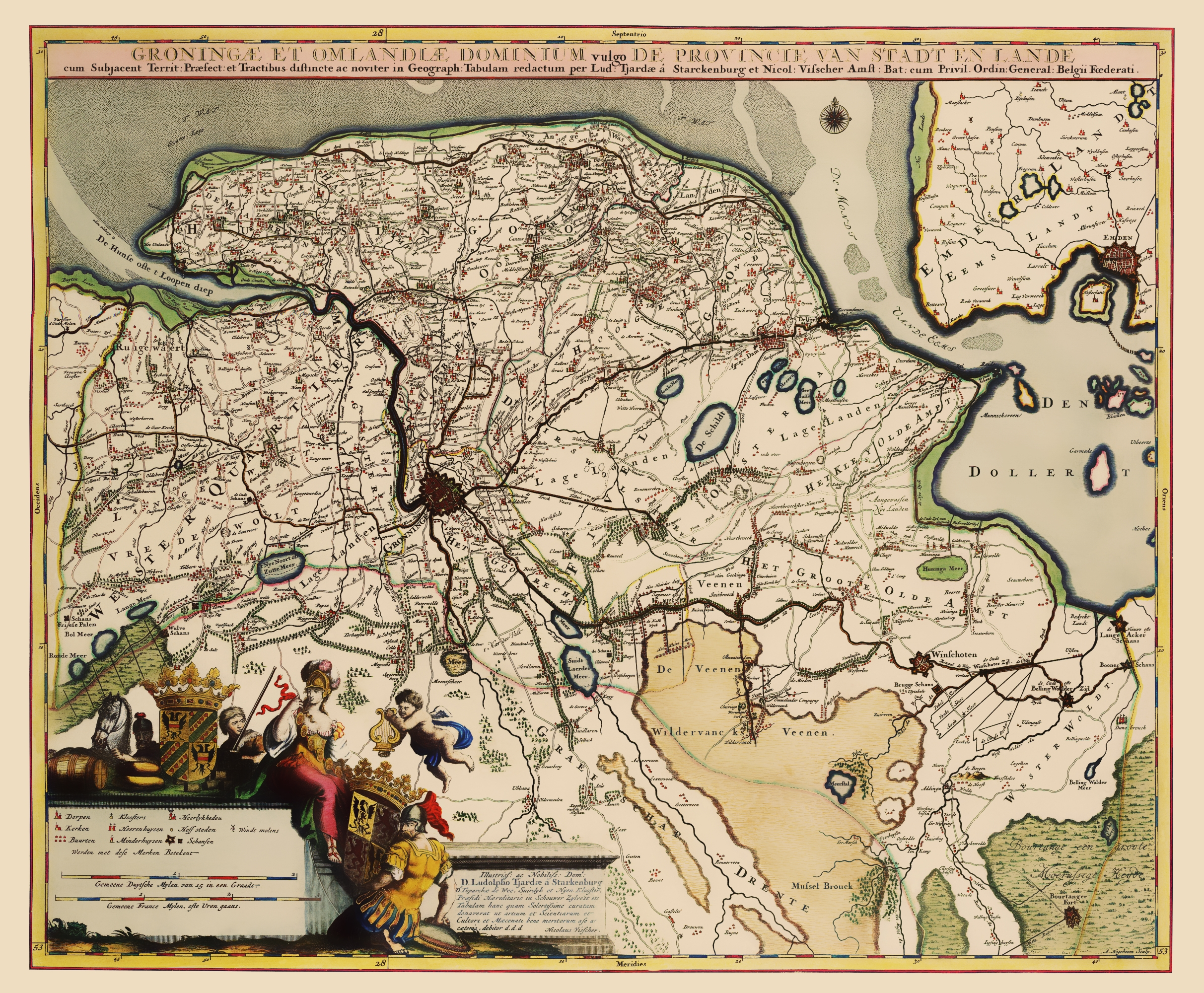Old Netherlands Map - Groningen Region Visscher 1681