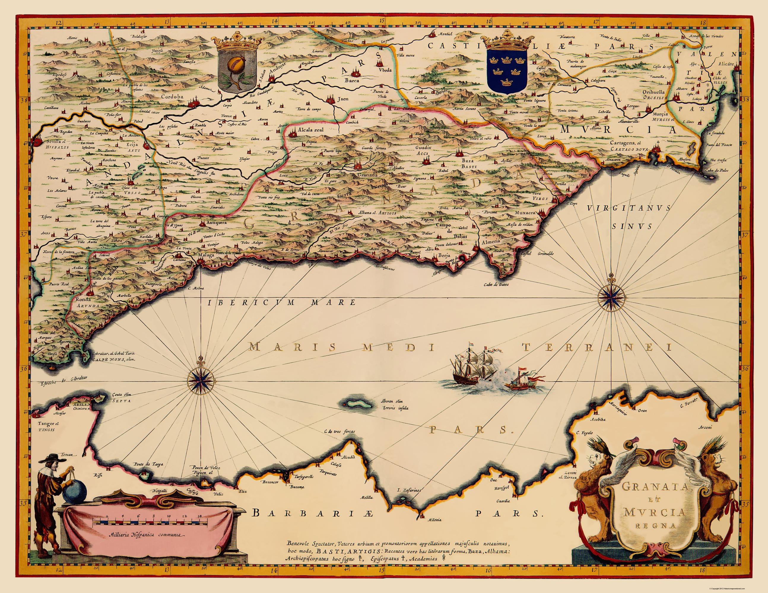 Old Iberian Peninsula Map Granada Murcia Spain 1635