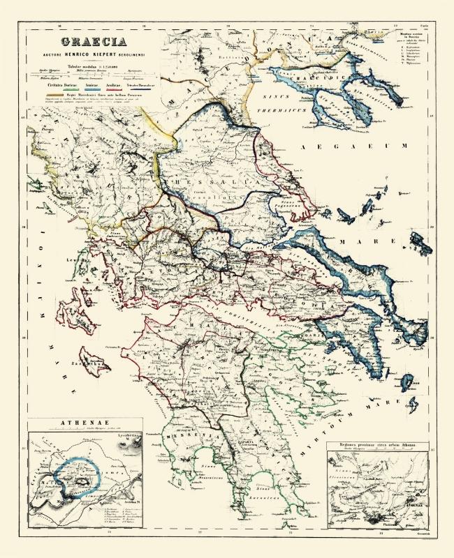 International Map - Greece - Athens - Kiepert 1903 - 23 x 28.32 on
