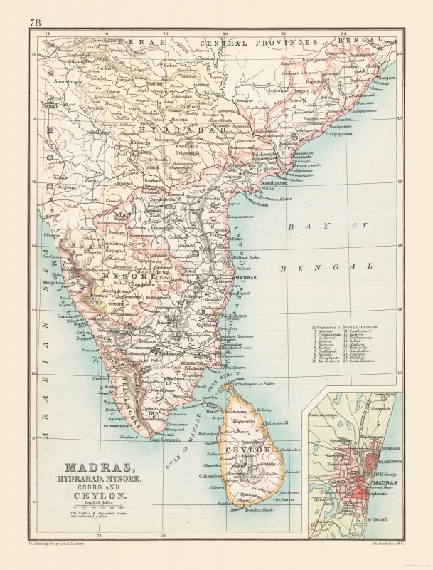 International Map - Southern India - Bartholomew 1892 - 23 x 30.22 on seaside on map, highway on map, banaras on map, lincoln city on map, redmond on map, tillamook on map, karachi on map, gold beach on map, oshkosh on map, roseburg on map, silverton on map, goa on map, pizza on map, bombay on map, lahore on map, cascadia on map, mysore on map, calcutta on map, medford on map, chittagong on map,