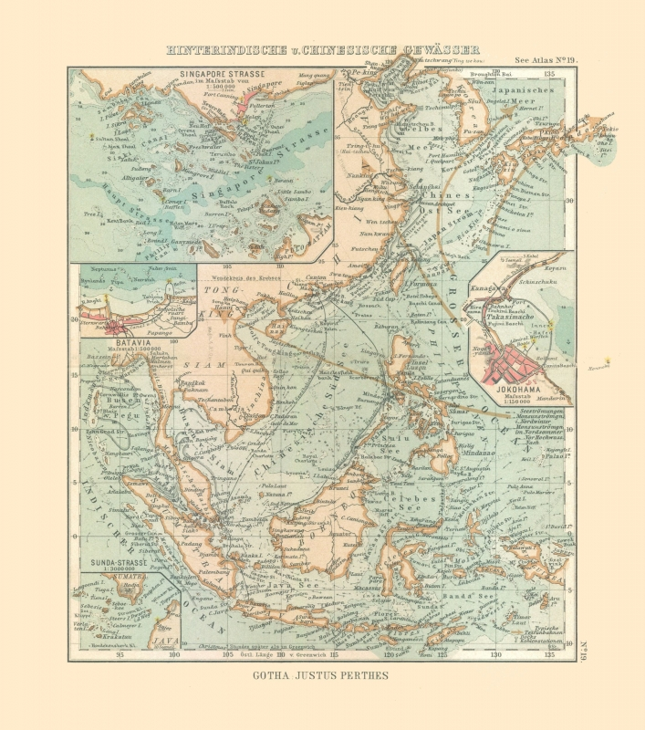 Map Of Asia Yellow Sea.International Map Indian Ocean And Yellow Sea Perthes 1914 23 X 26 04