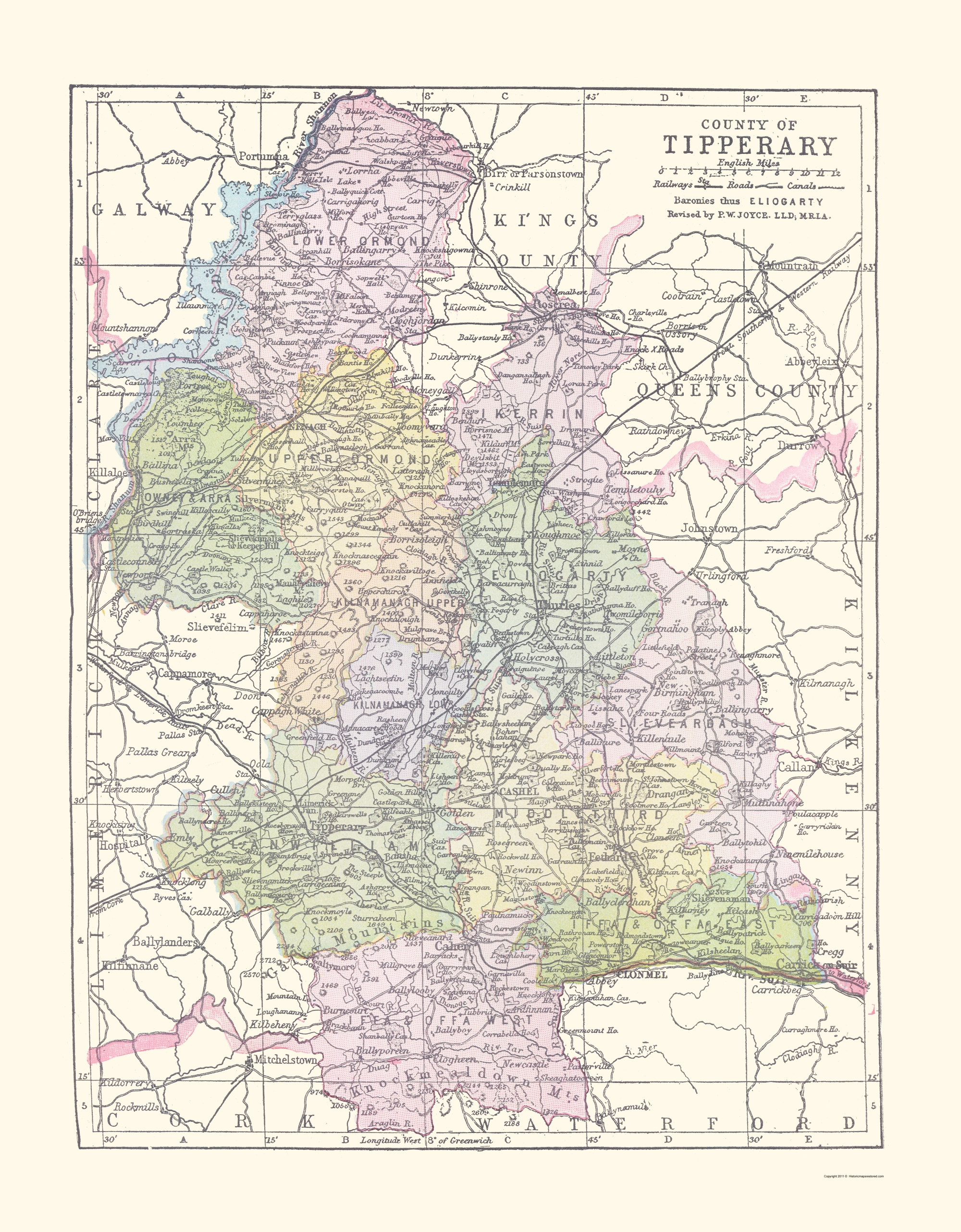 County Tipperary Ireland Map.Old Ireland Map Tipperary County Philip 1882