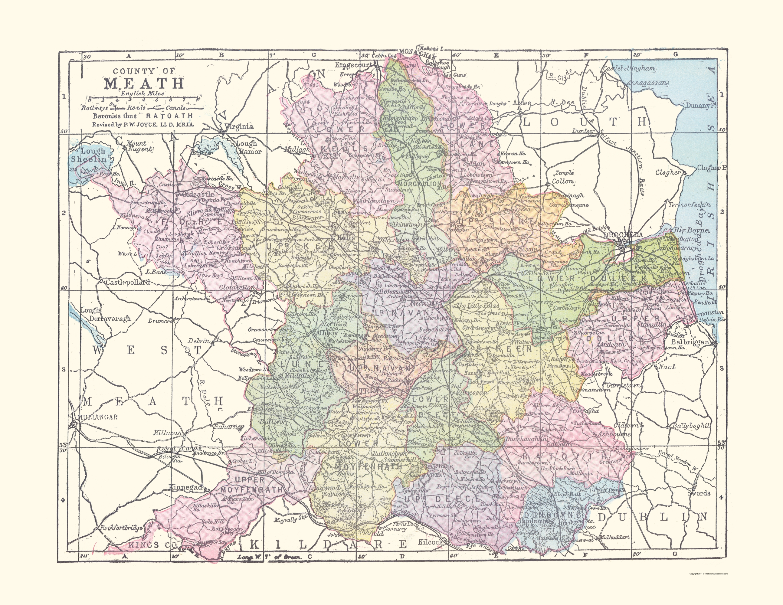 Old Ireland Map Meath County Philip 1882