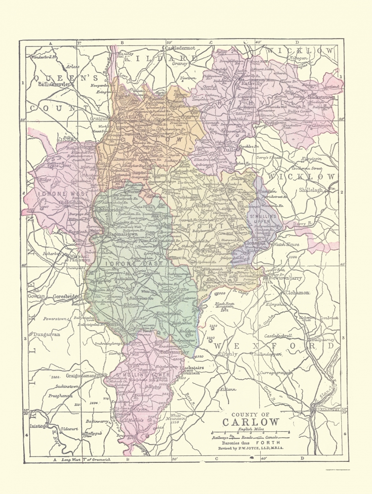 Carlow Map Of Ireland.Old Ireland Map Carlow County Philip 1882 23 X 30 58
