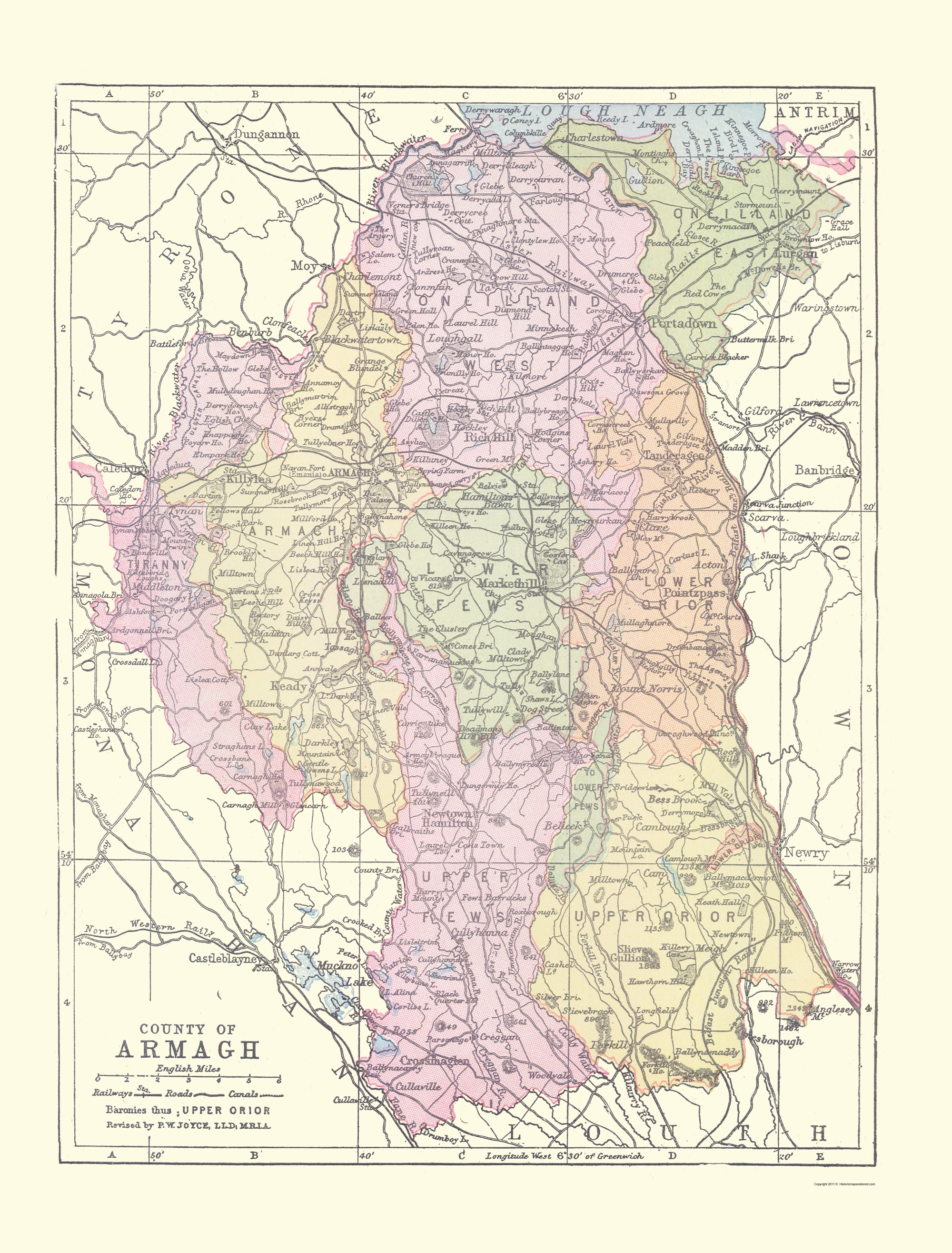 Old Ireland Map Armagh County Philip 1882