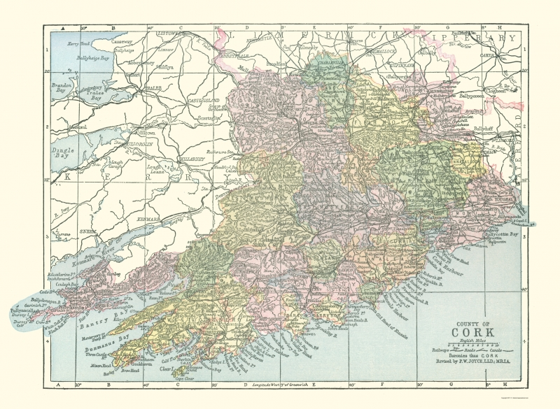 Map Of Cork County Ireland.Old Ireland Map Cork County Philip 1882 23 X 31 43