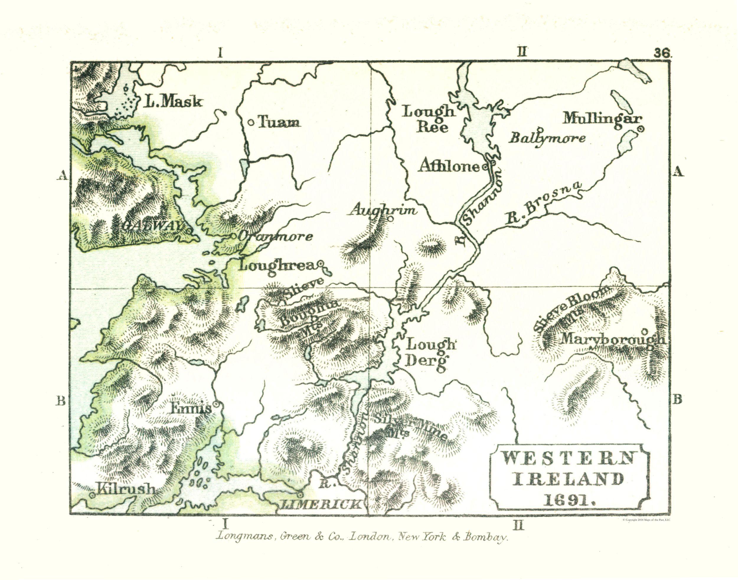 Map Of Ireland To New York.Old Ireland Map Western Ireland In 1691 Gardiner 1902 29 25 X 23