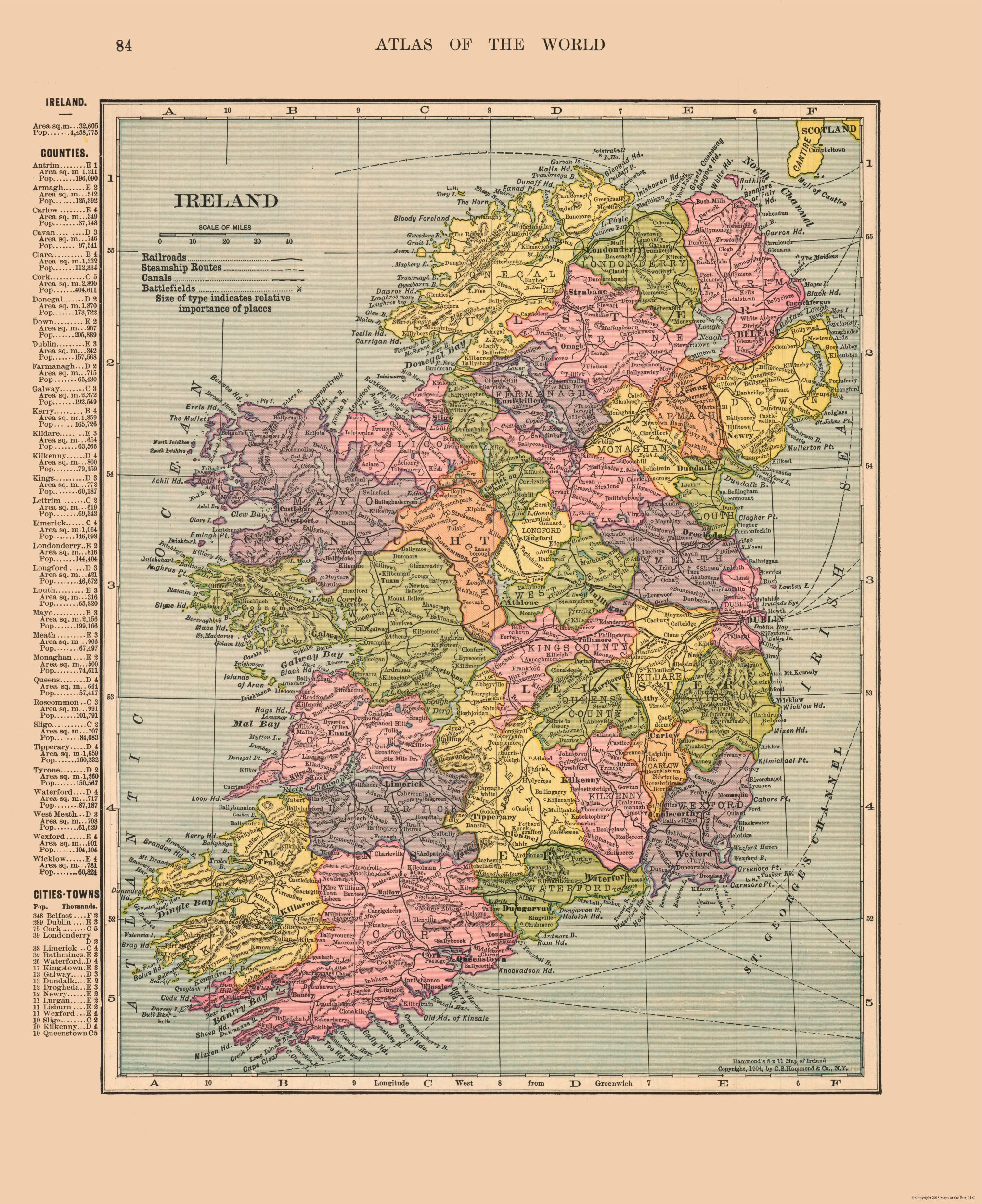 Full Map Of Ireland.Old International Maps Ireland Hammond S Atlas 1910 23 X 28 19