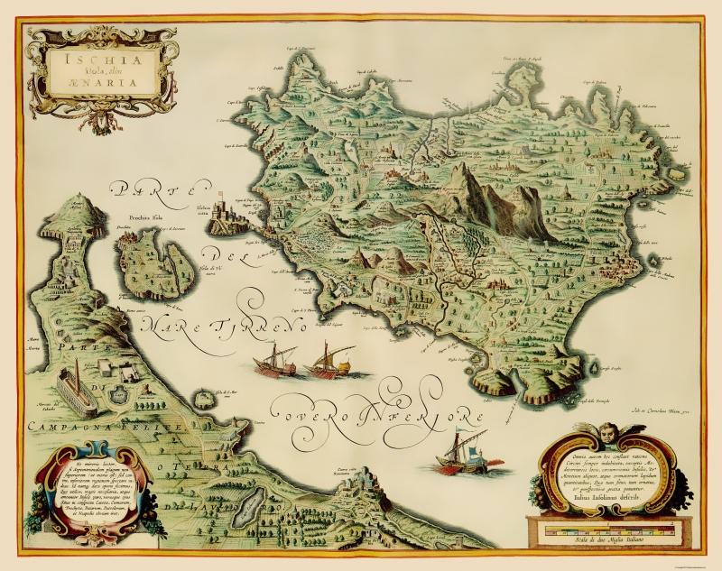 Old Italy Map Ischia Blaeu 1640 23 X 29 06