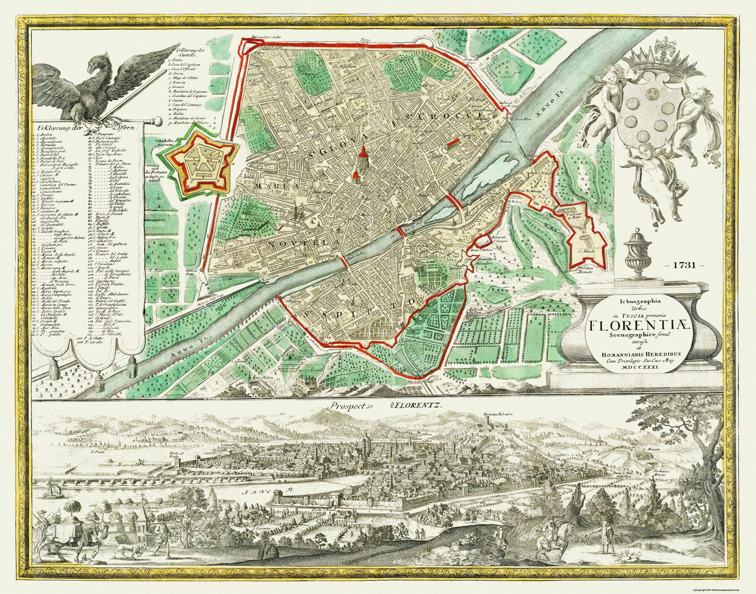 Old Italy Map Florence Homann 1731