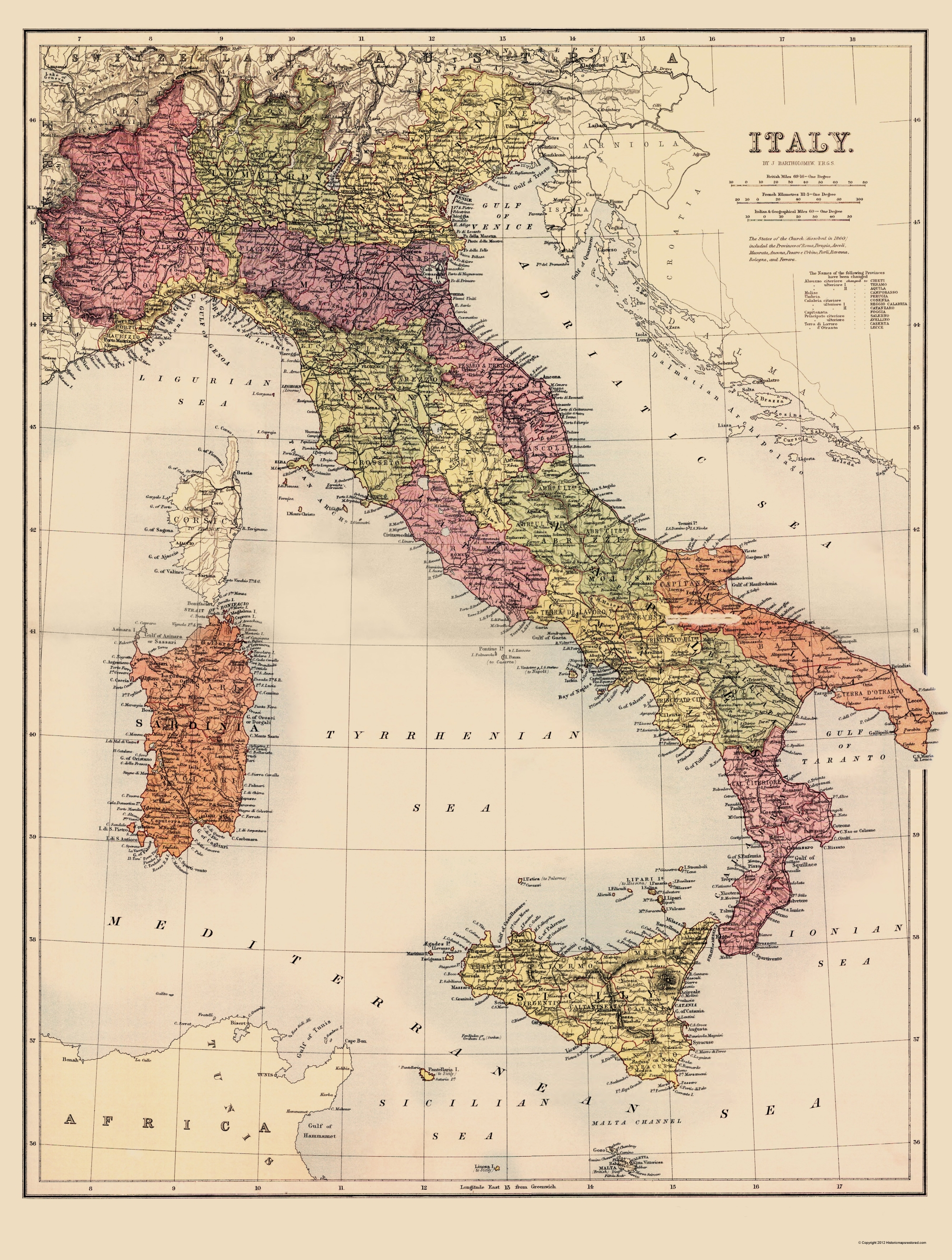 Old Italy Map Bartholomew 1890