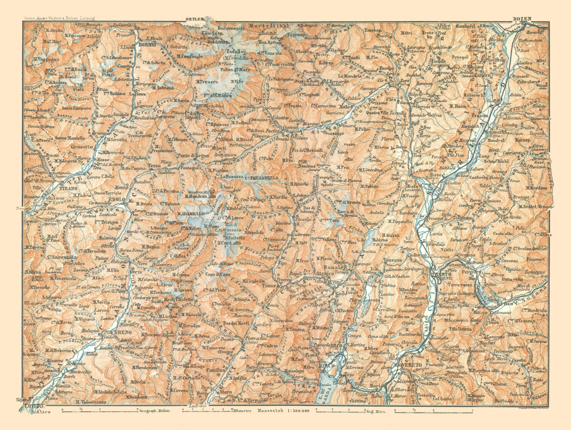Map Of North Italy.International Map North Italy Baedeker 1896 30 50 X 23