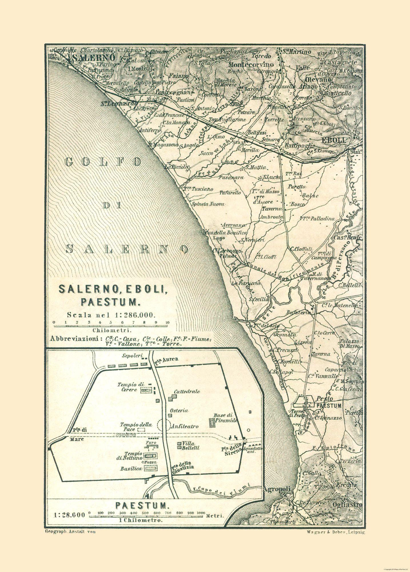 Old International Maps Salerno Eboli Paestrum Italy