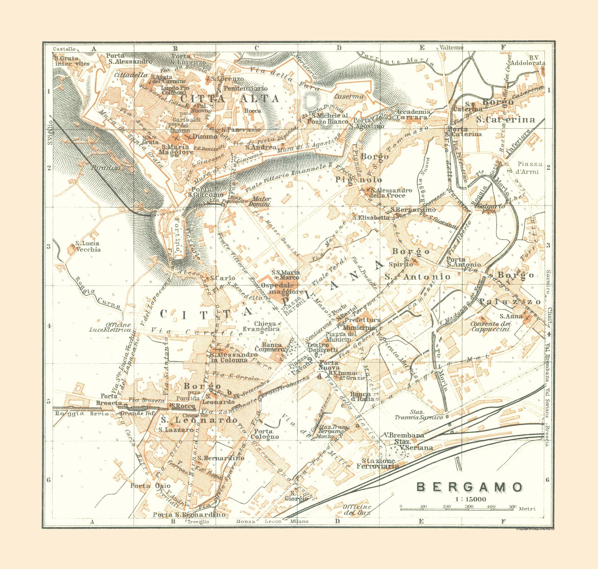 International Map - Bergamo - Italy - Bertarelli 1914 - 24.15 x 23 on comacchio italy map, punta ala italy map, pienza italy map, narni italy map, road distances italy map, capannori italy map, tresana italy map, chianti italy map, codroipo italy map, pianosa italy map, cinque terre italy map, lavagna italy map, bogliasco italy map, florence italy map, coastal italy map, simple italy map, noce italy map, porto venere italy map, arezzo italy map, conegliano italy map,