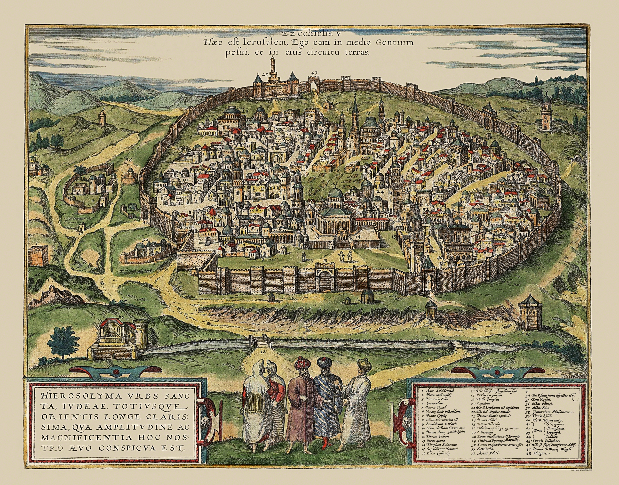 Old israel map the holy city jerusalem 1575 double tap to zoom gumiabroncs Images
