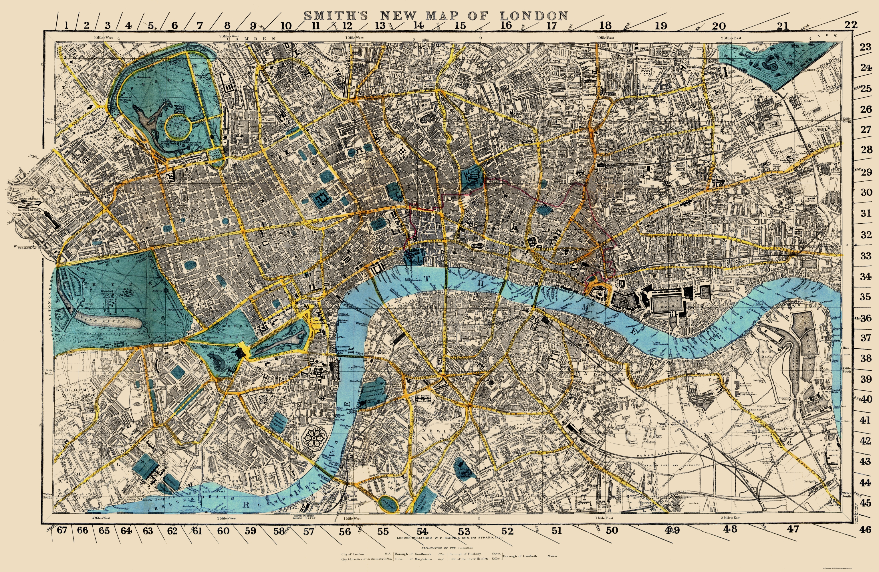 Full Map Of London.Old Great Britain Map London England Smith 1860 23 X 35 34
