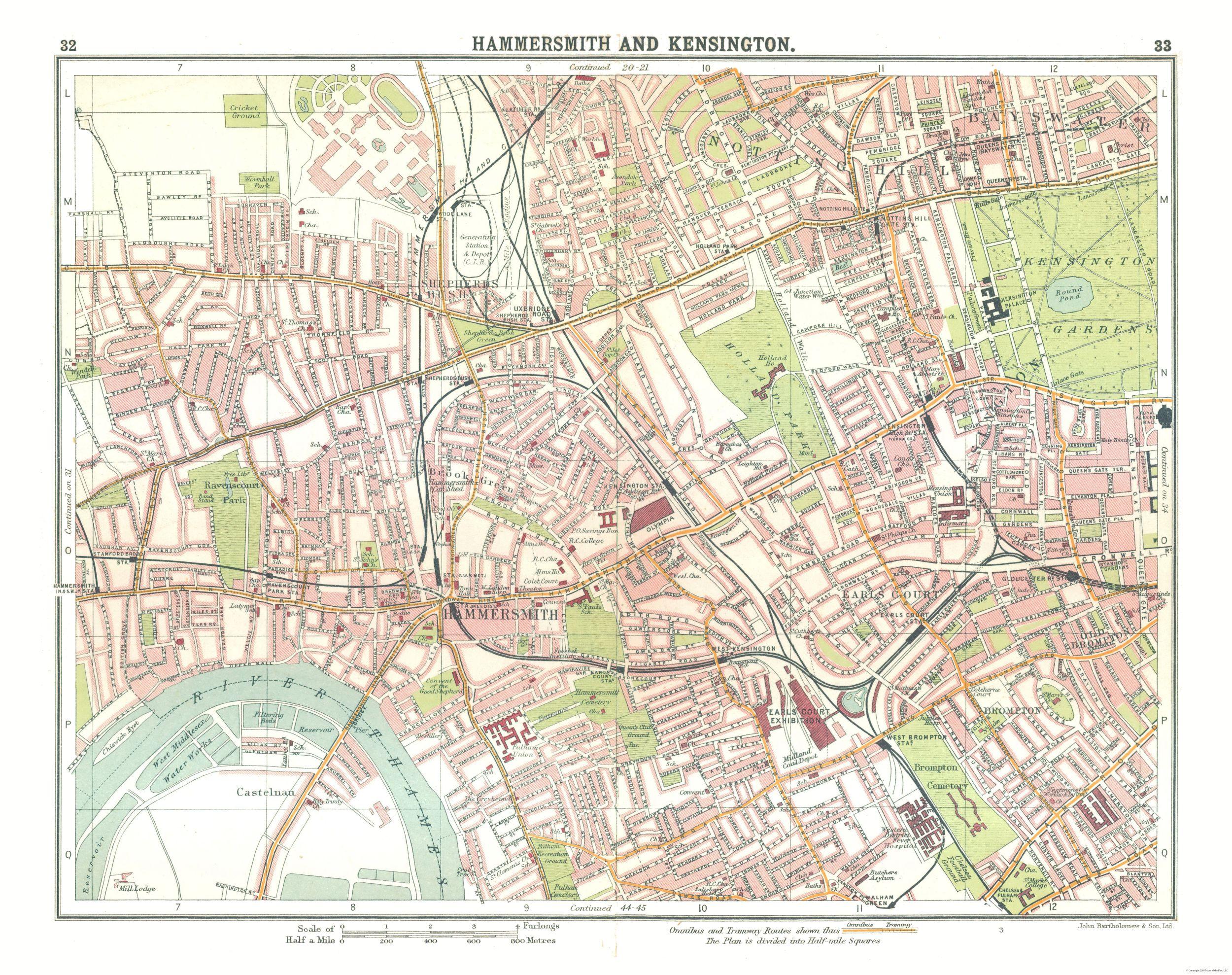 Old International Maps Hammersmith Kensington London Uk
