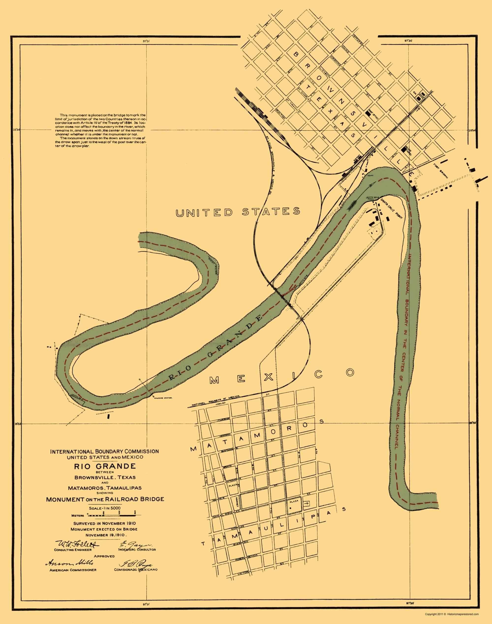 Old Map - Rio Grande Border, Matamoros, Brownsville 1910