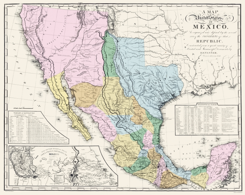 Old Mexico Map - Mexican States - Tanner 1846 - 23 x 28.97