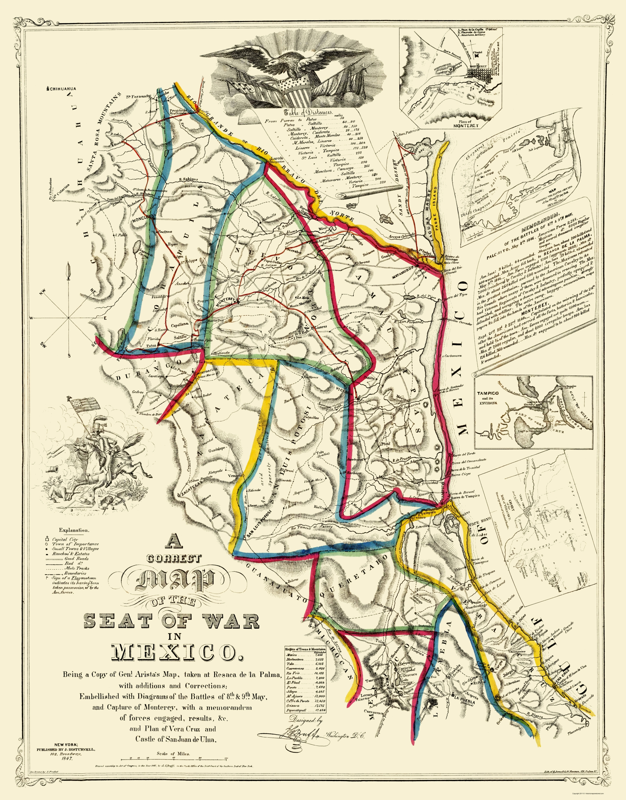 Old War Map - Mexico Map of Mexican American War 1847