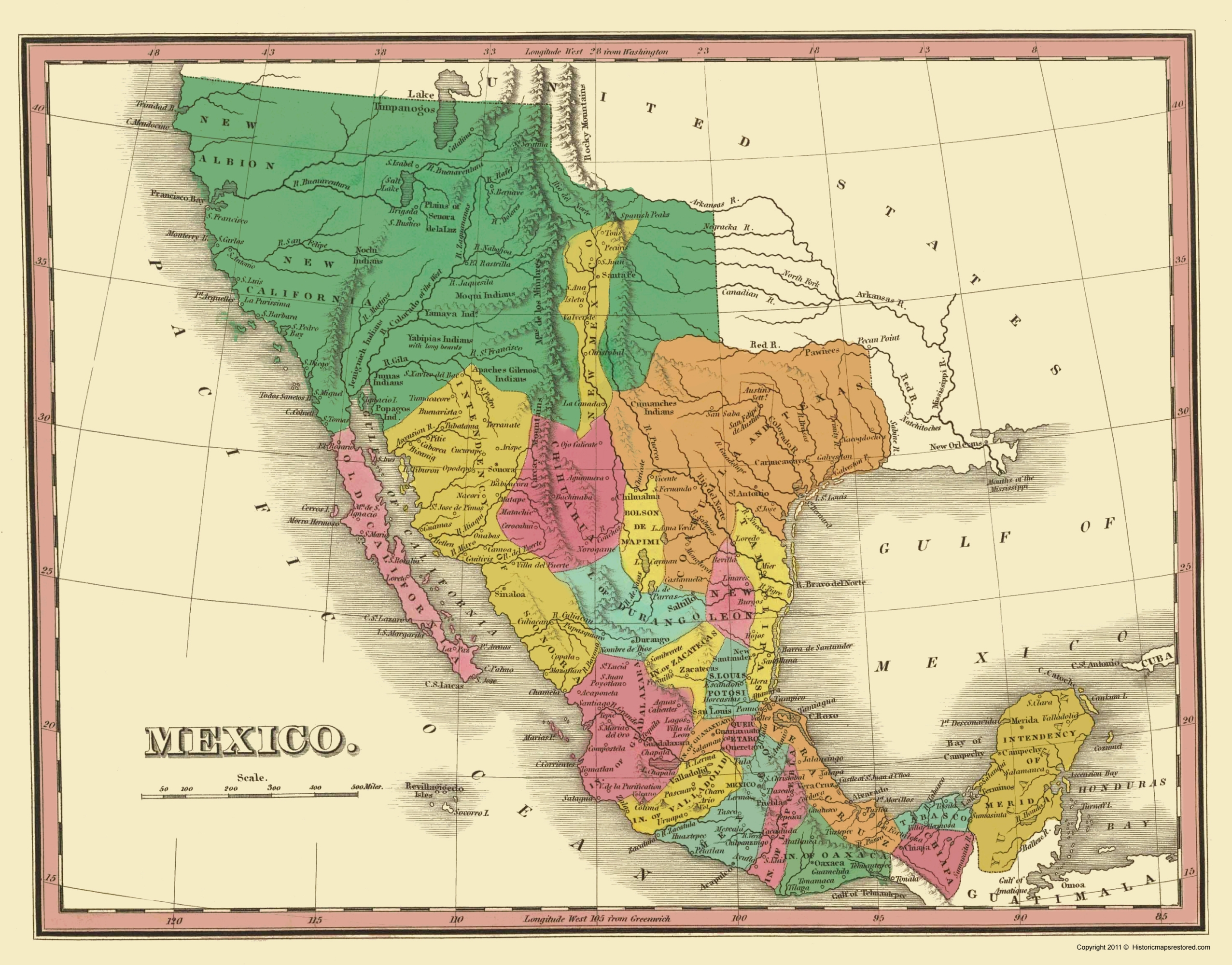 Old Mexico Map   Mexico with Territories Finley 1831