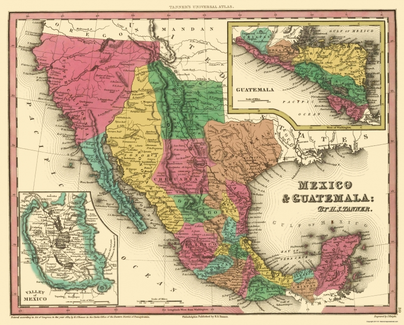 Old North America Map - Mexico and Guatemala - Tanner 1834 - 23 x 28.56