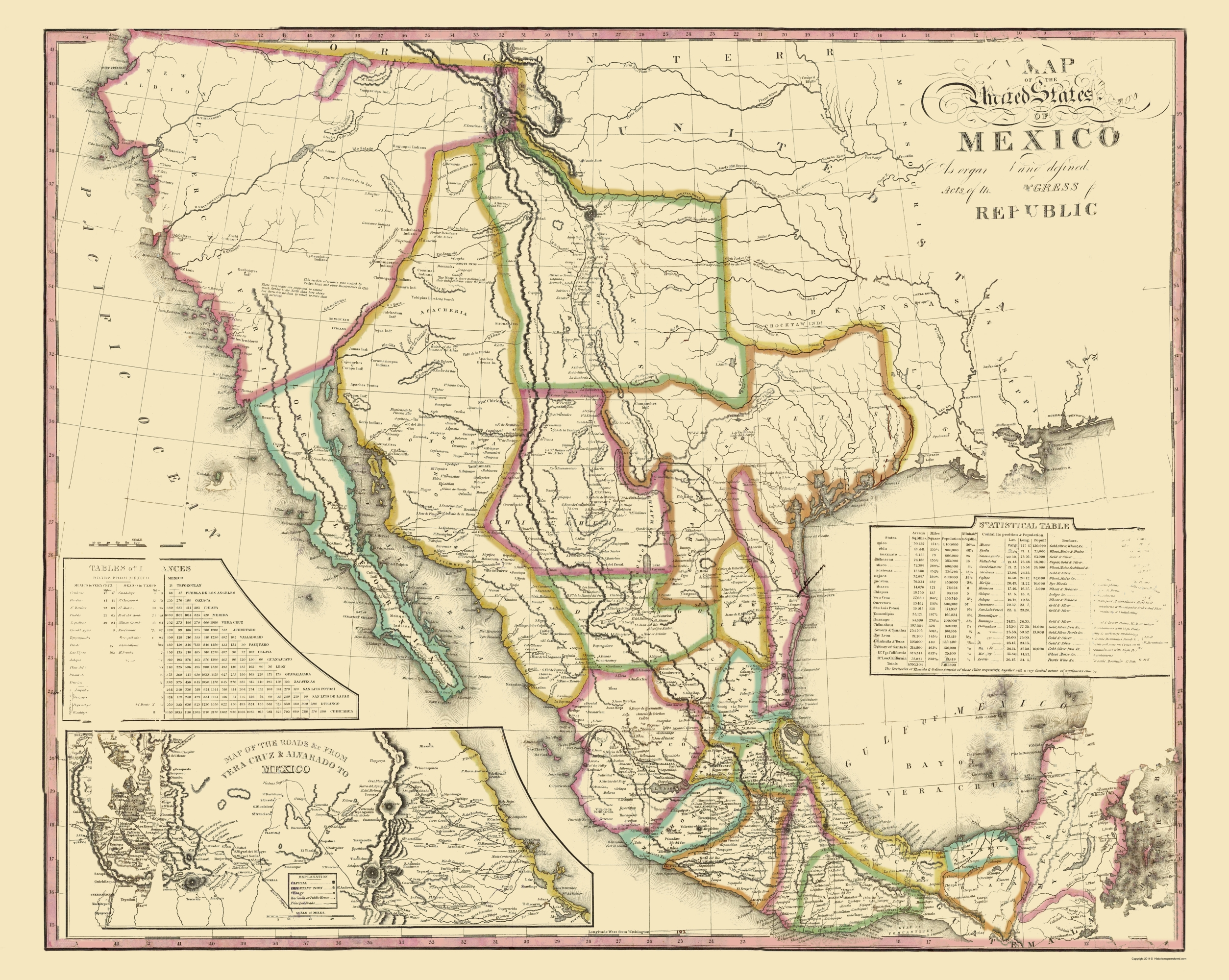 Old Mexico Map - United States of Mexico - Tanner 1826 - 23 x 28.84