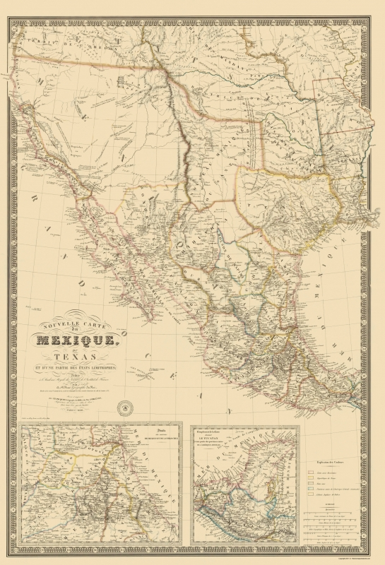 Old North America Map - Mexico, Southwest United States - Brue 1840 - 23 x  33.75