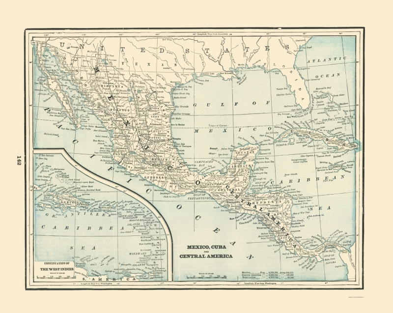 Old Central America Map - Mexico, Cuba, Central America - Rathbun 1893 - 23  x 28