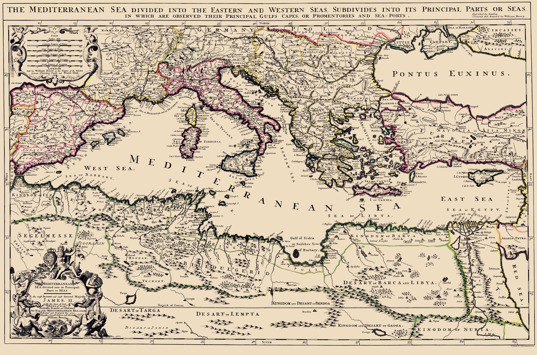 Old Mediterranean Map - Mediterranean Sea Region Berry