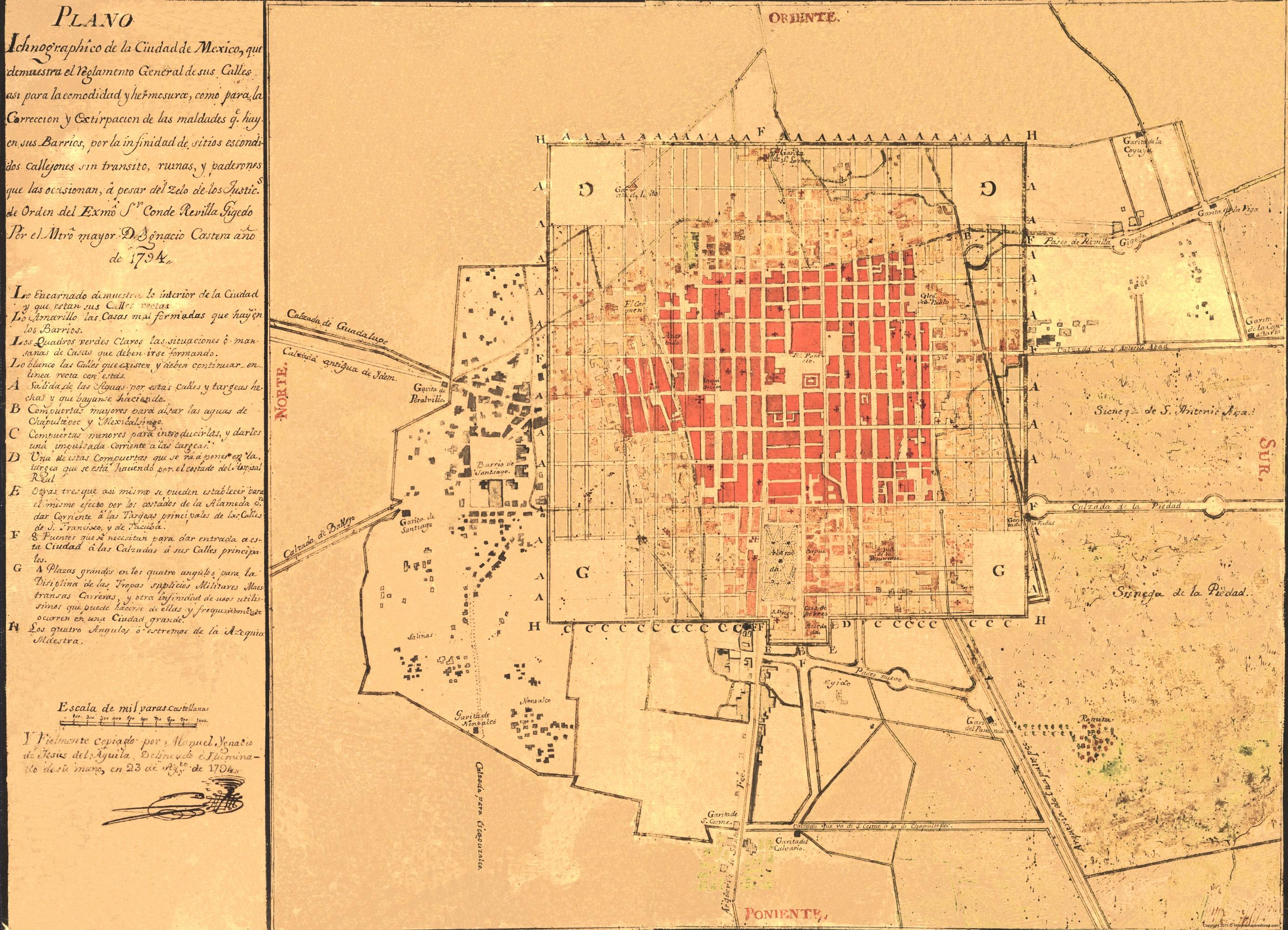 Mexico Map 1794.Old Mexico Map Mexico City Panoramic De Aguila 1794