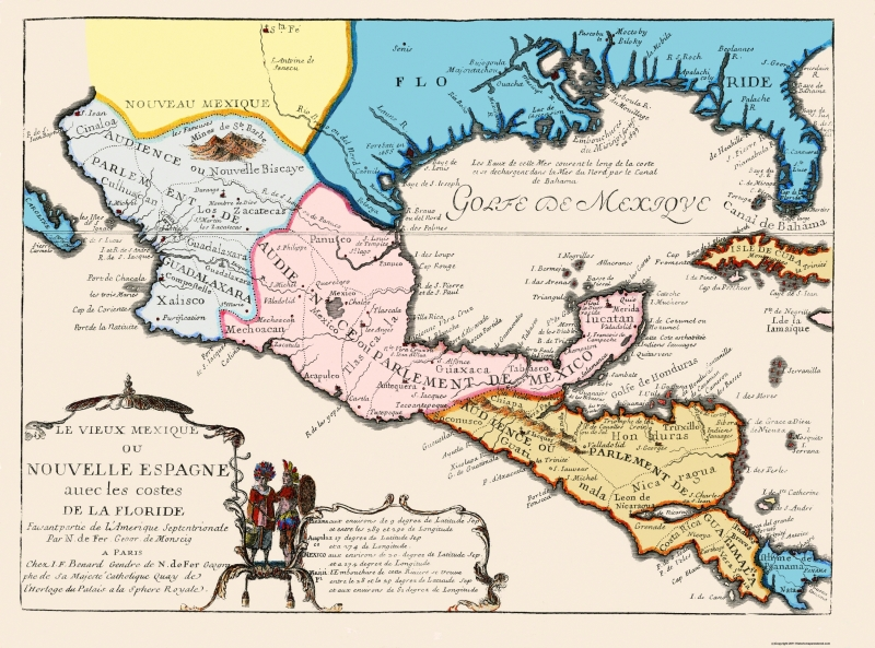 Full Map Of Spain.Old North America Map New Spain 1702 31 X 23