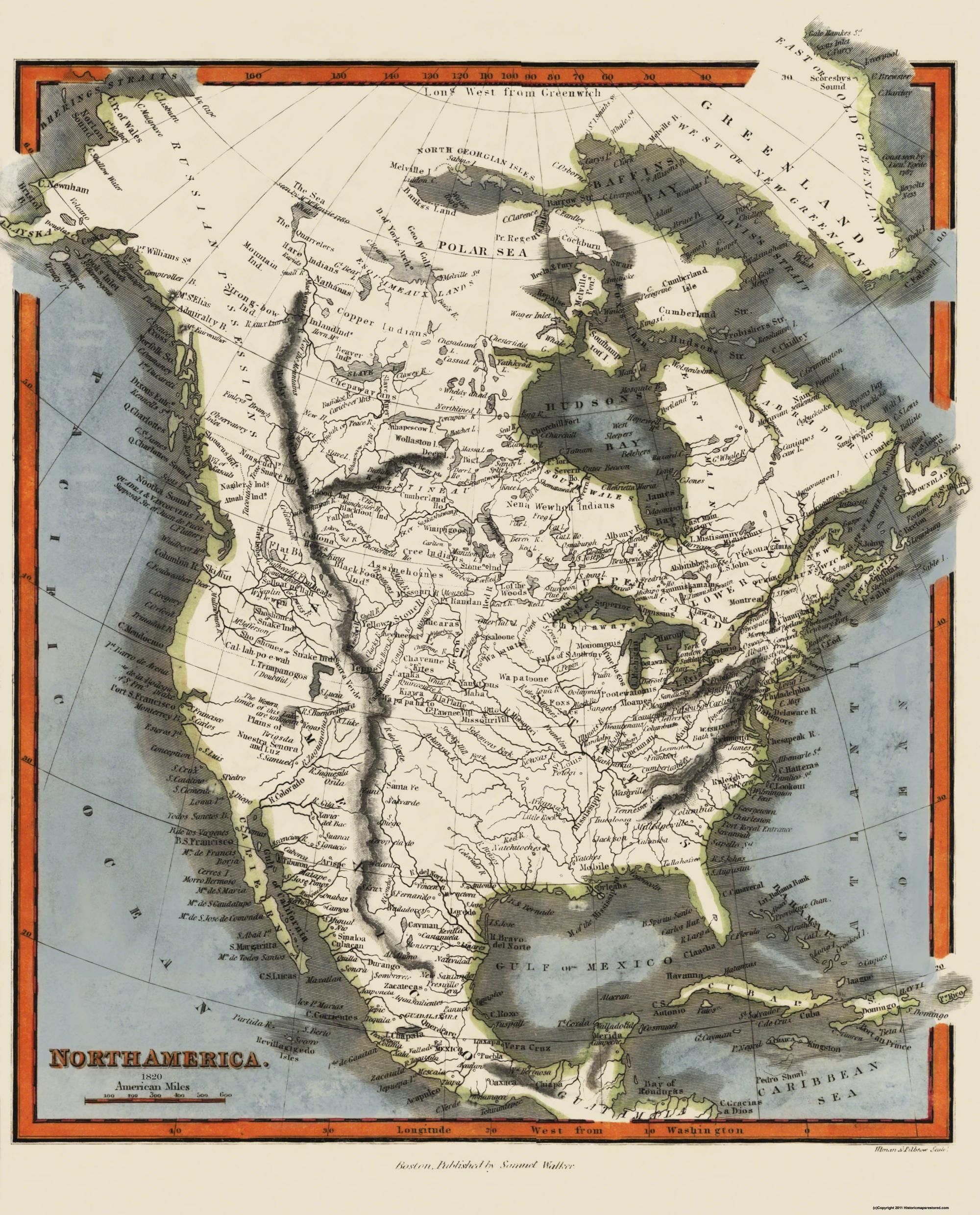 Map Of America 1820.Old North America Map North America Walker 1820