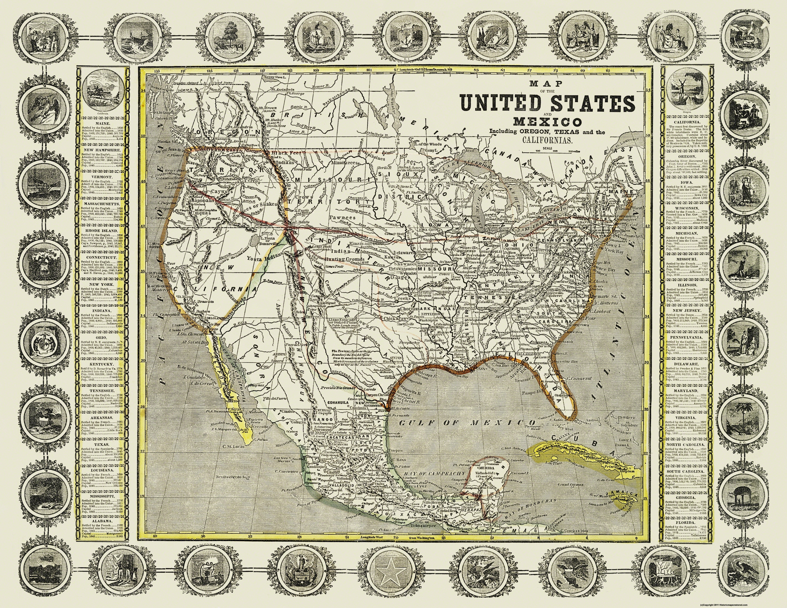 Old North America Map.Old North America Map United States And Mexico 1846