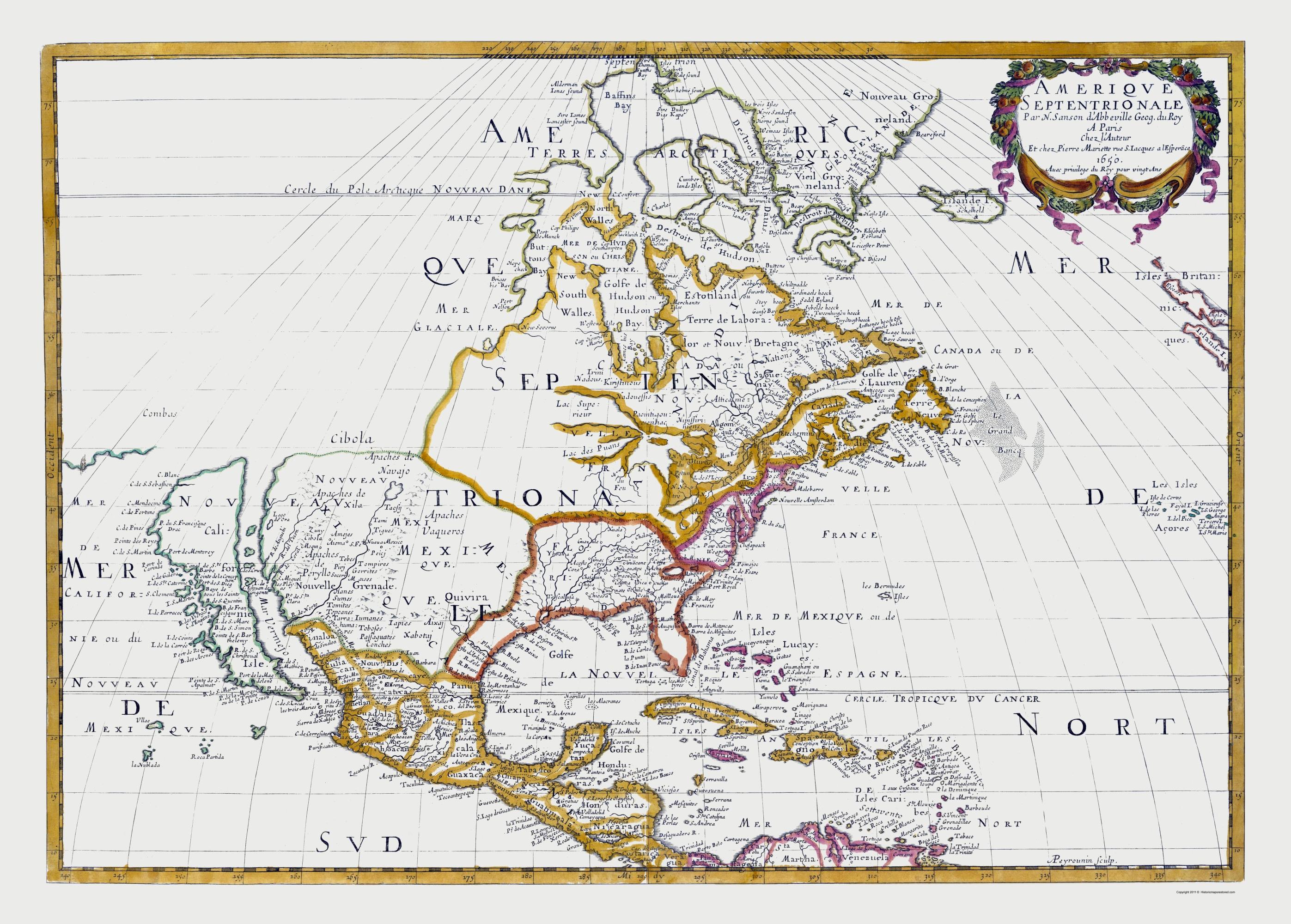 old north america map north america sanson 1650