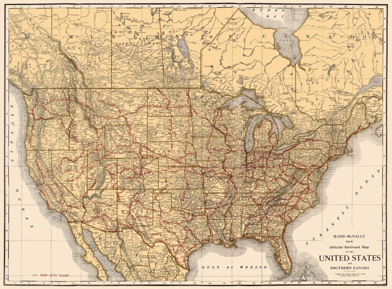 Old North America Map - Railroads in United States, Southern Canada 1920 -  23x31