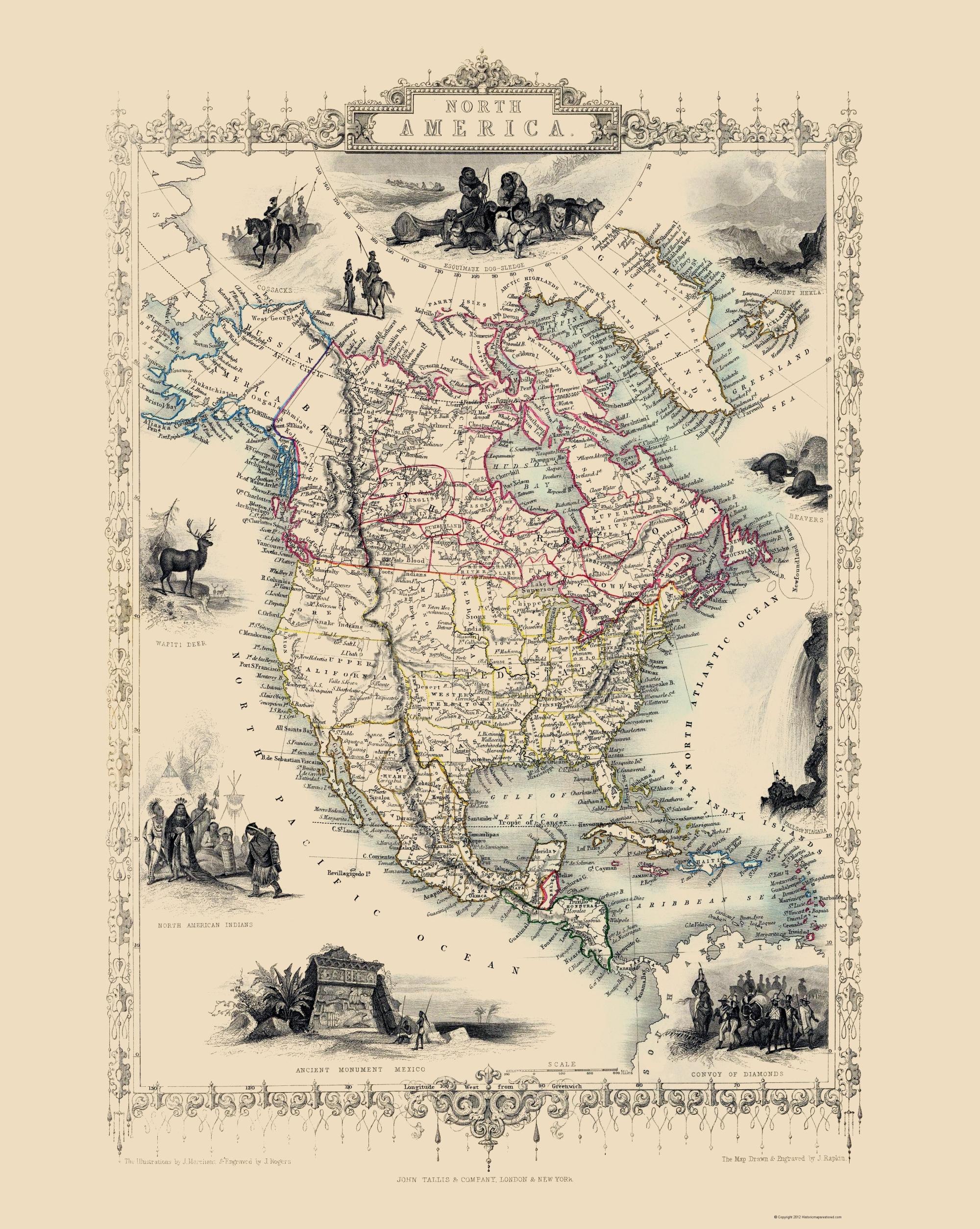 Old North America Map.Old North America Map Tallis 1851