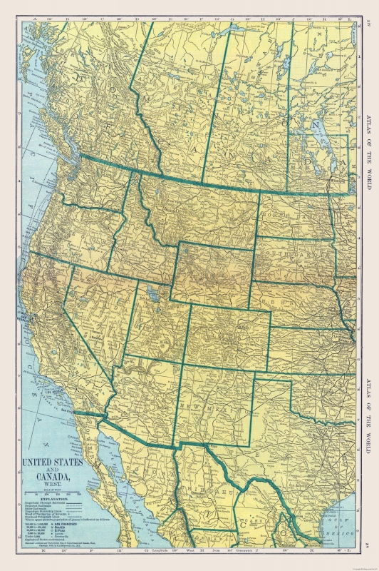 International Map - Canada and United States - Hammond\'s Atlas 1910 - 23 x  34.61