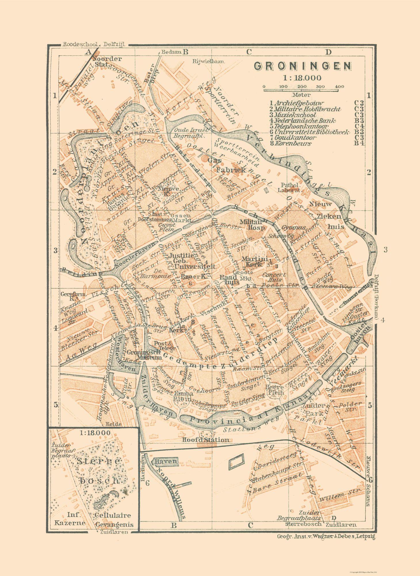 Old International Maps | Groningen - Netherlands - Baedeker 1910 ...