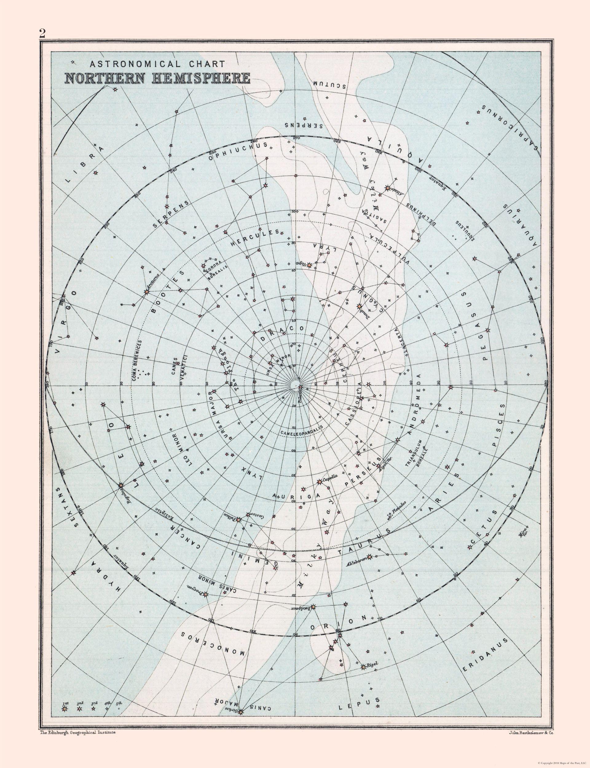 Old International Maps Star Chart Of Northern Hemisphere