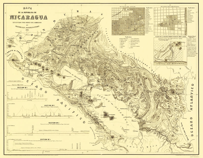 Old Central America Map - Nicaragua - Maxmilian 1858 - 23 x 29.56 on map of bluefields nicaragua, map of ocotal nicaragua, map of leon nicaragua, map of masaya nicaragua, map of chinandega nicaragua, map of jinotega nicaragua, map of granada nicaragua, map of nandaime nicaragua, map of managua nicaragua, map of diriamba nicaragua,