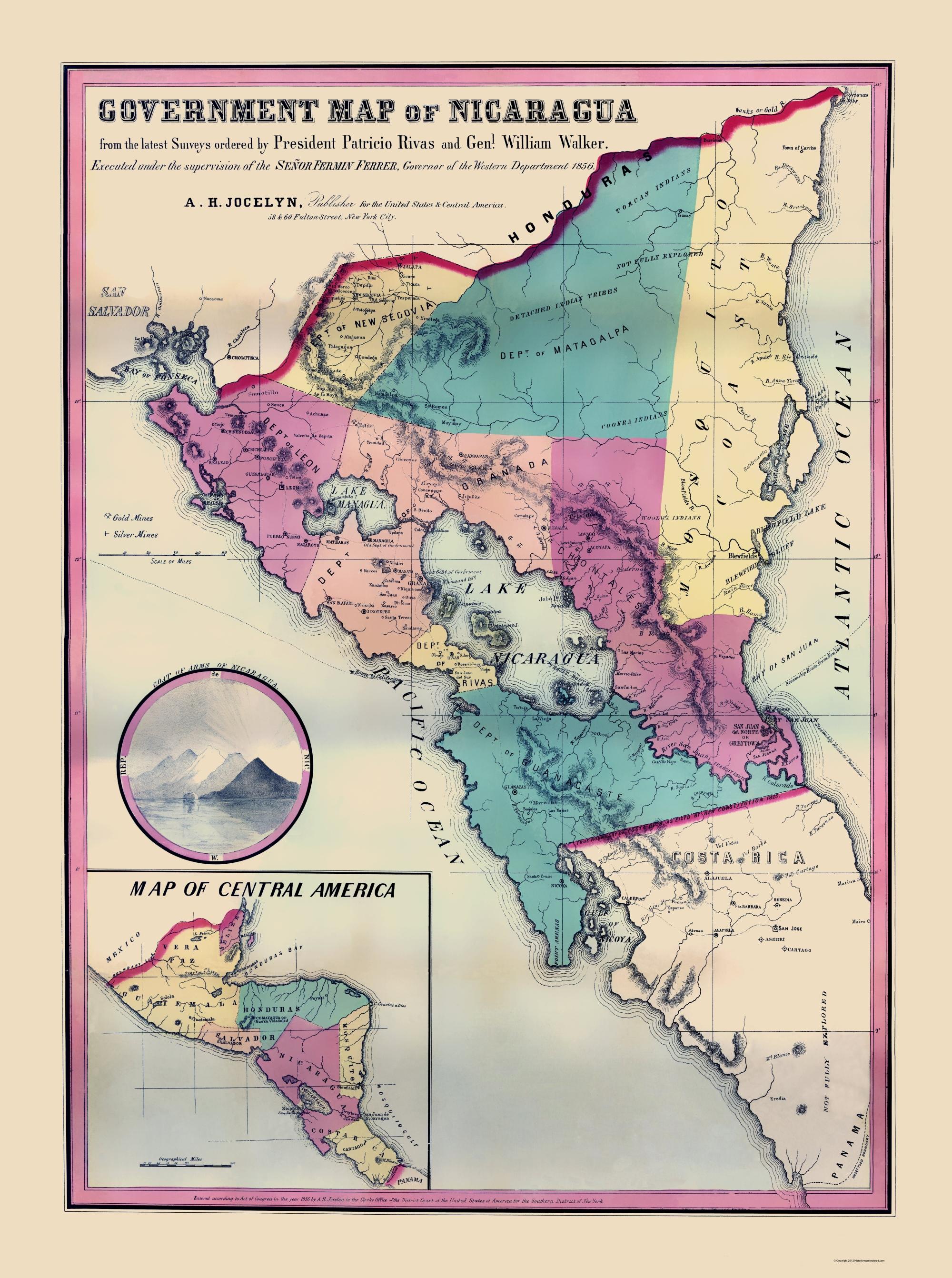 Old Central America Map - Nicaragua - Jocelyn 1856 - 23 x 30.86