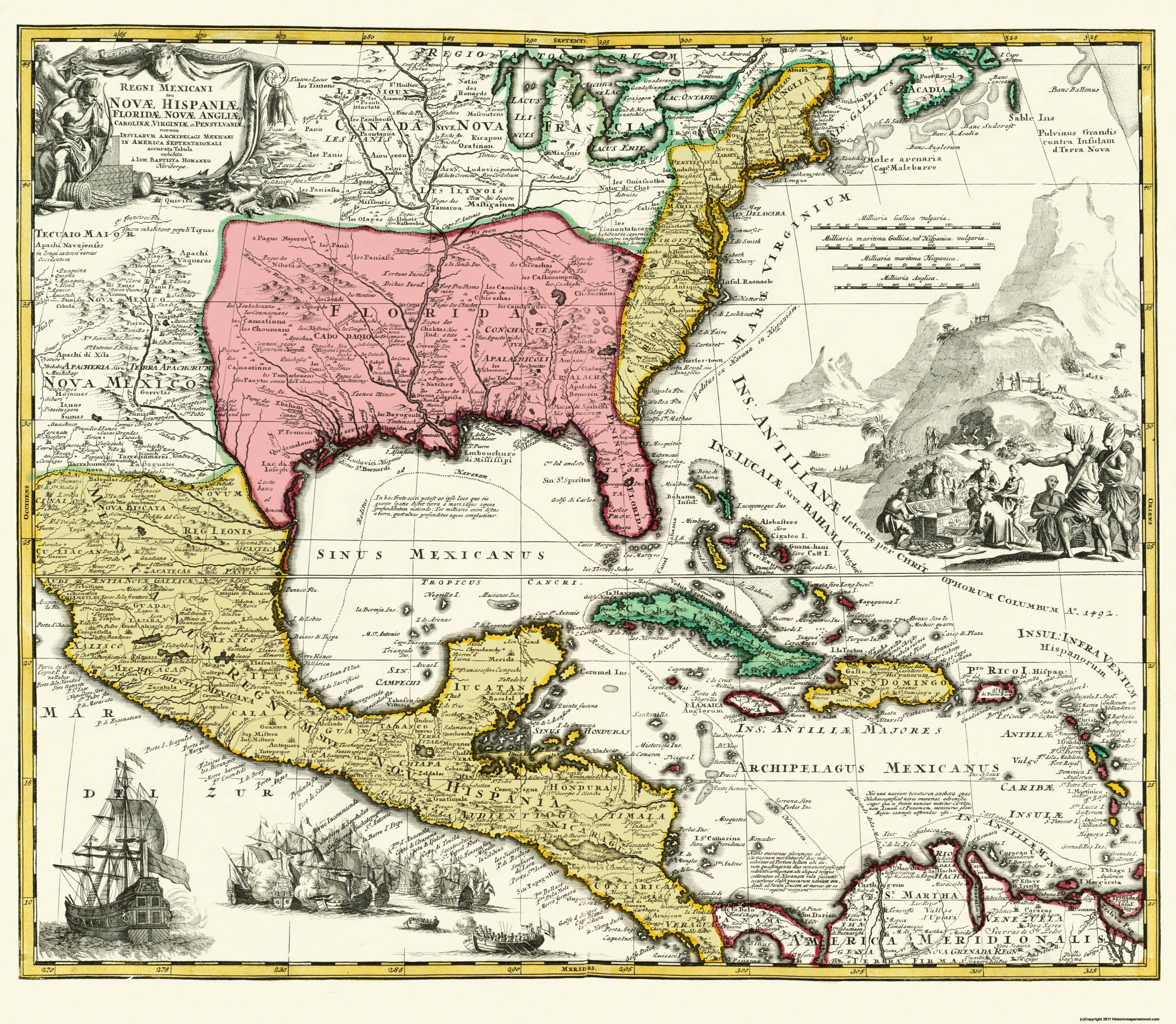 Old New England Map.Old Central America Map Map Of New Spain 1732