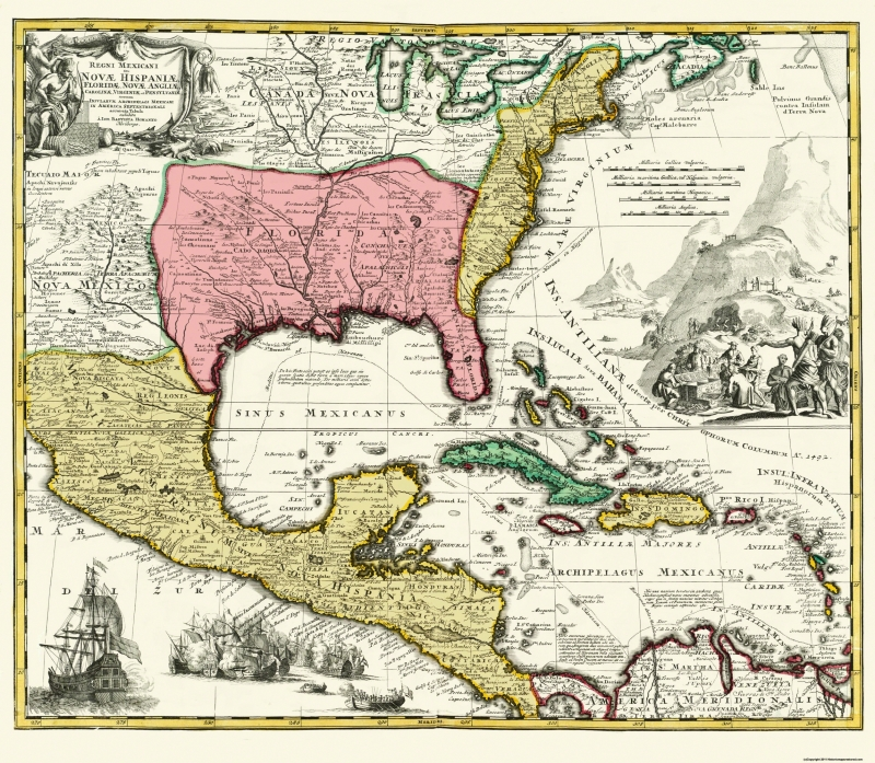Map Of Central Spain.Old Central America Map Map Of New Spain 1732 26 38 X 23
