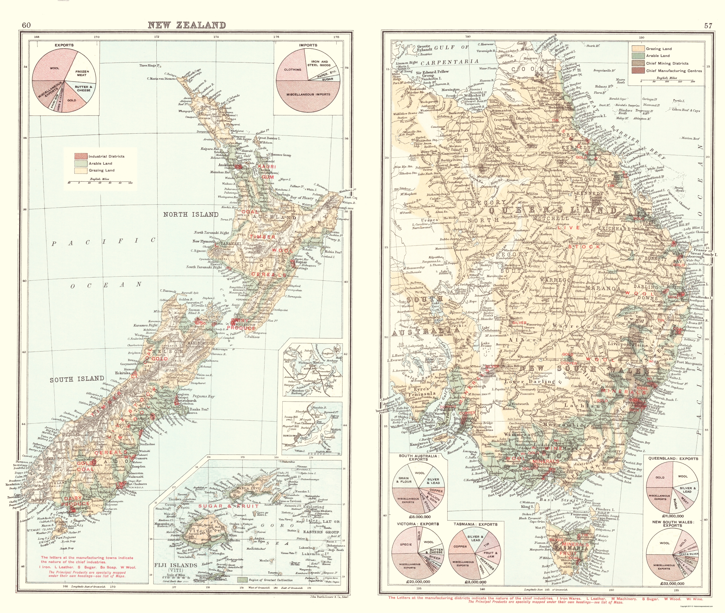 Map Of New Zealand Australia.Old Oceania Map Imports And Exports New Zealand Australia 1907 23 X 27