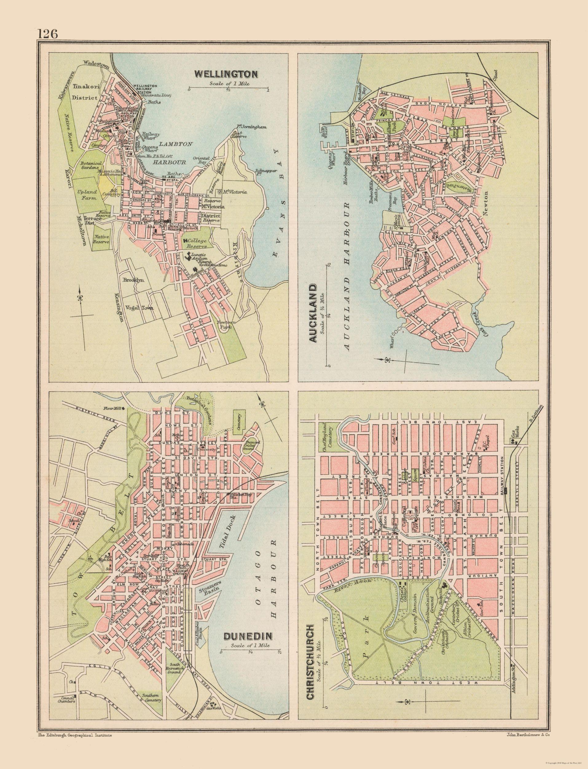 Map Of New Zealand With Cities.International Map New Zealand Major Cities Bartholomew 1892 23 X 30 04