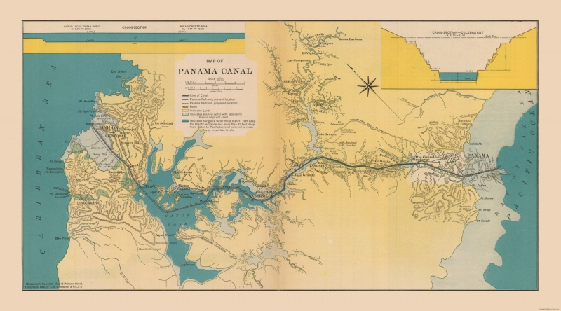 International Map - Panama Canal - Hammond\'s Atlas 1910 - 41.46 x 23